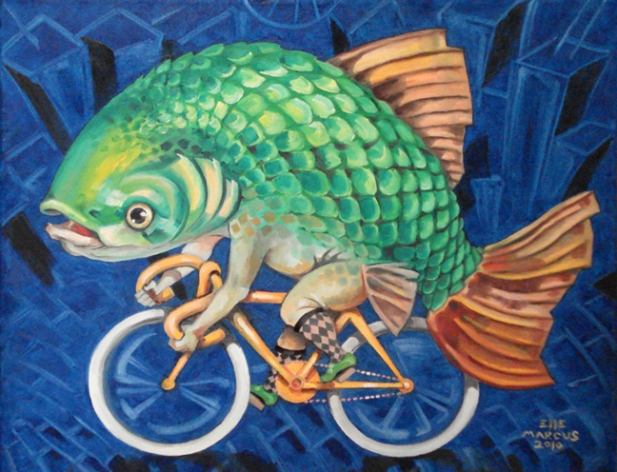 """For SALE: """"Chicago Carp"""" - Oil on canvas 18"""" x 24"""""""