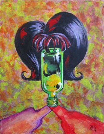 "For Sale: ""Bottle of Envy"" - acrylic - 11x14"""