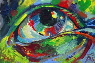 """For Sale: """"eye"""" - acrylic - Small painting"""