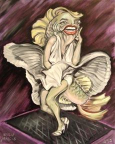 "Missing/Stolen: Marilyn Mon-fish-roe - Oil on canvas - 16"" x 20"""