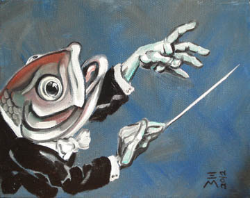 "Donated SVHE: conductor fish - Oil on Canvas - 8""x 10"""