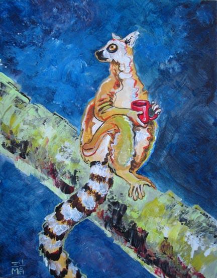 "For Sale: ""coffee Lemur"" - acrylic - 11x14"""