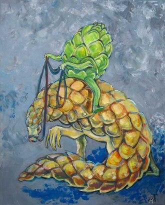"""For Commission: SOLD """"artichoke riding armadillo"""""""