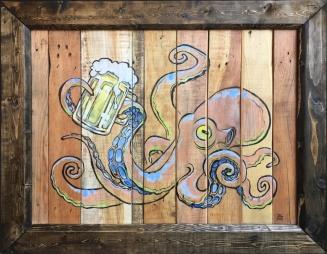 """Acrylic paint on upcycled wood (34.25"""" x 27.75"""" x 2.5"""